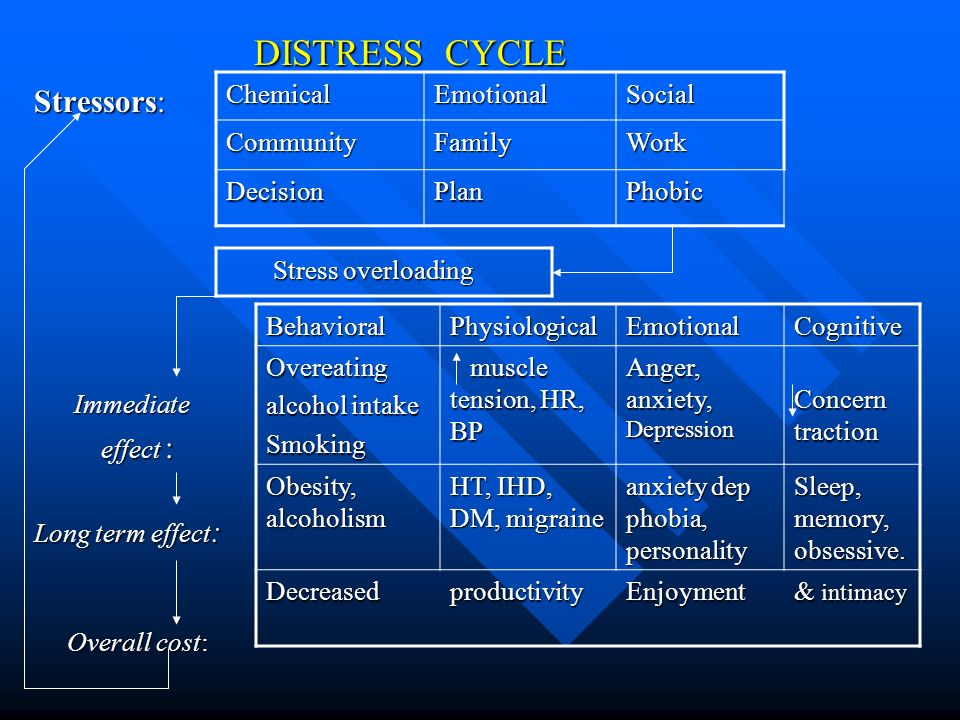 DISTRESS CYCLE DISTRESS CYCLE Stressors: Immediate Immediate effect : effect : Long term effect : Overall cost: Overall cost: ChemicalEmotionalSocial