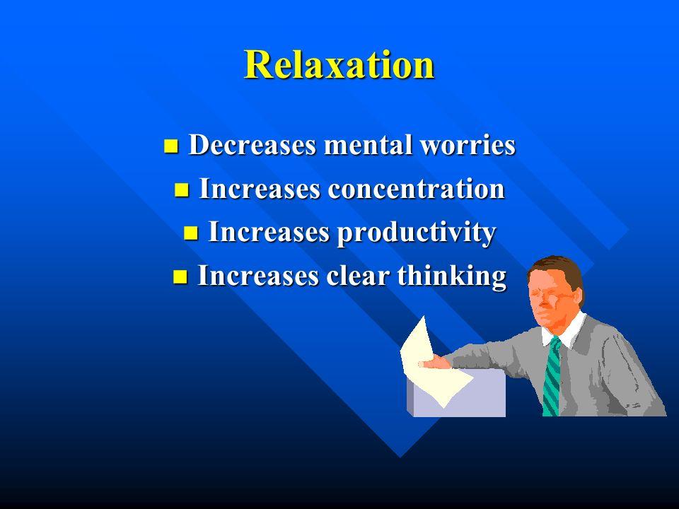 Relaxation Decreases mental worries Decreases mental worries Increases concentration Increases concentration Increases productivity Increases producti