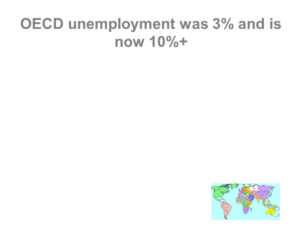 OECD unemployment was 3% and is now 10%+