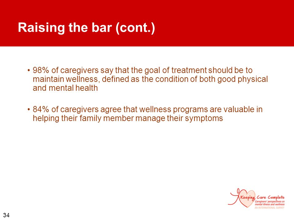 34 Raising the bar (cont.) 98% of caregivers say that the goal of treatment should be to maintain wellness, defined as the condition of both good phys