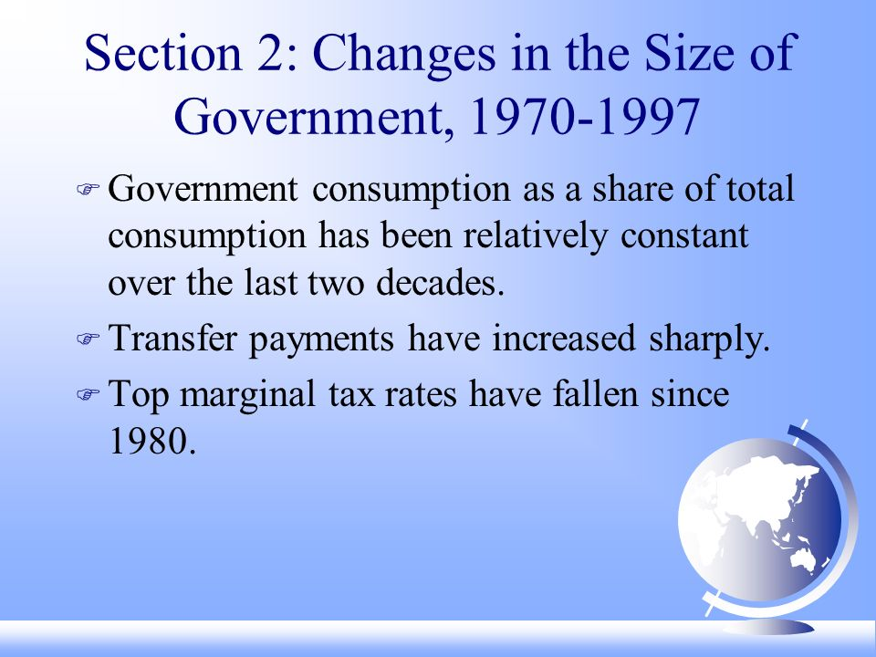 Section 2: Changes in the Size of Government, F Government consumption as a share of total consumption has been relatively constant over the last two decades.