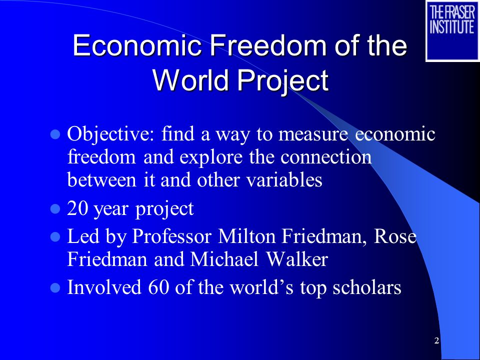 2 Economic Freedom of the World Project Objective: find a way to measure economic freedom and explore the connection between it and other variables 20
