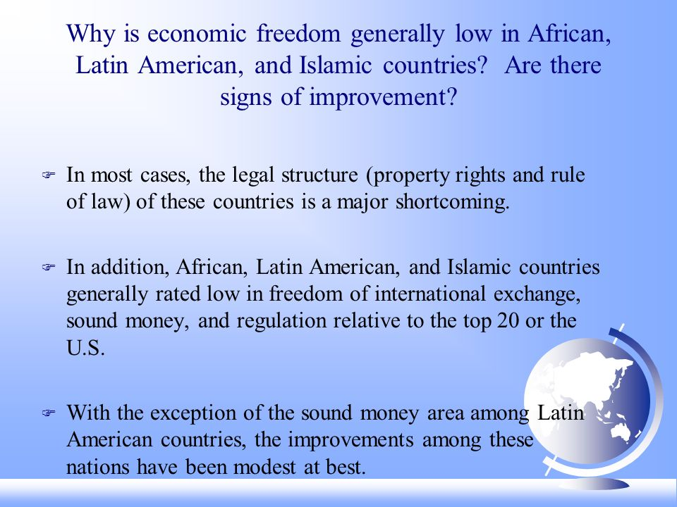 Why is economic freedom generally low in African, Latin American, and Islamic countries.