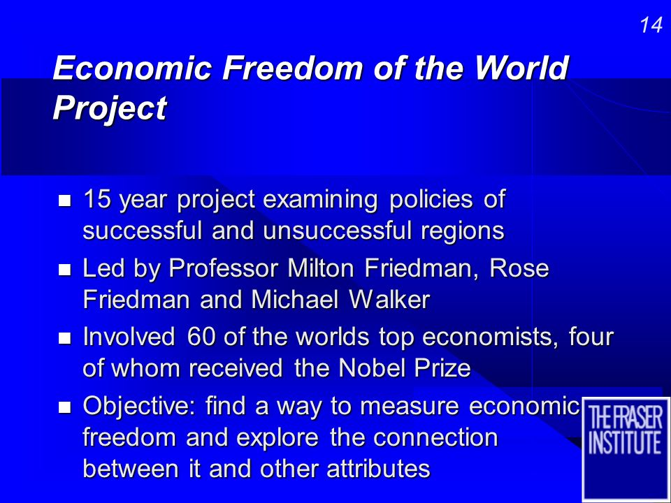 13 The story of Hong Kong and Venezuela is repeated around the globe n Motivated the creation of the Economic Freedom of the World Project to examine whether there were empirical regularities that could be found between economic freedom and other characteristics of societies including economic growth and development