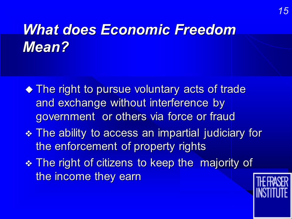14 Economic Freedom of the World Project n 15 year project examining policies of successful and unsuccessful regions n Led by Professor Milton Friedman, Rose Friedman and Michael Walker n Involved 60 of the worlds top economists, four of whom received the Nobel Prize n Objective: find a way to measure economic freedom and explore the connection between it and other attributes
