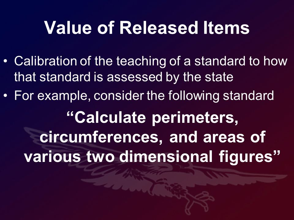 Value of Released Items Calibration of the teaching of a standard to how that standard is assessed by the state For example, consider the following standard Calculate perimeters, circumferences, and areas of various two dimensional figures