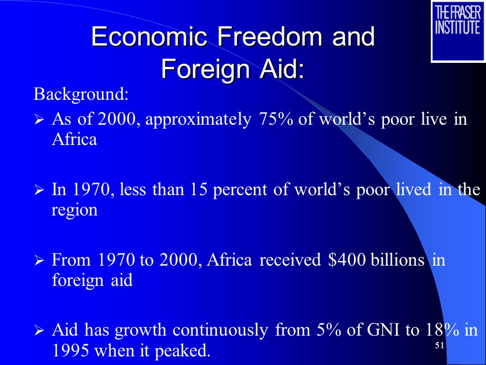 50 Economic Freedom and Foreign Aid: Millennium Development Goals Halving poverty by 2015 Lack of empirical evidence on the effectiveness of aid