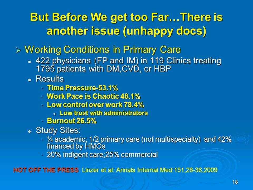 18 But Before We get too Far…There is another issue (unhappy docs) Working Conditions in Primary Care Working Conditions in Primary Care 422 physician