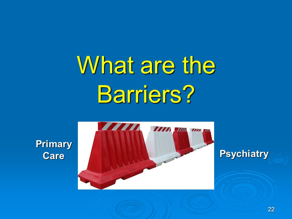 22 What are the Barriers? PrimaryCare Psychiatry