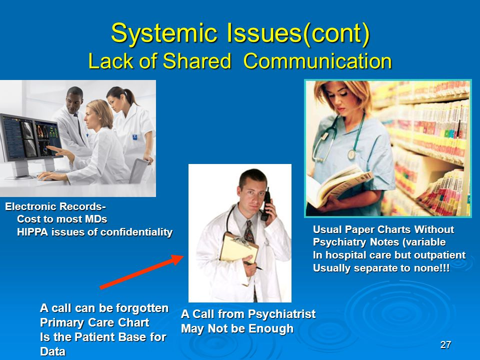 27 Systemic Issues(cont) Lack of Shared Communication Electronic Records- Cost to most MDs Cost to most MDs HIPPA issues of confidentiality HIPPA issues of confidentiality Usual Paper Charts Without Psychiatry Notes (variable In hospital care but outpatient Usually separate to none!!.