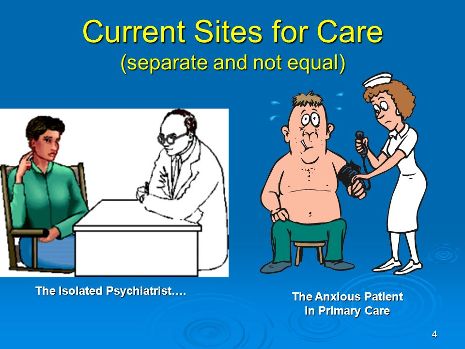 4 Current Sites for Care (separate and not equal) The Isolated Psychiatrist…. The Anxious Patient In Primary Care