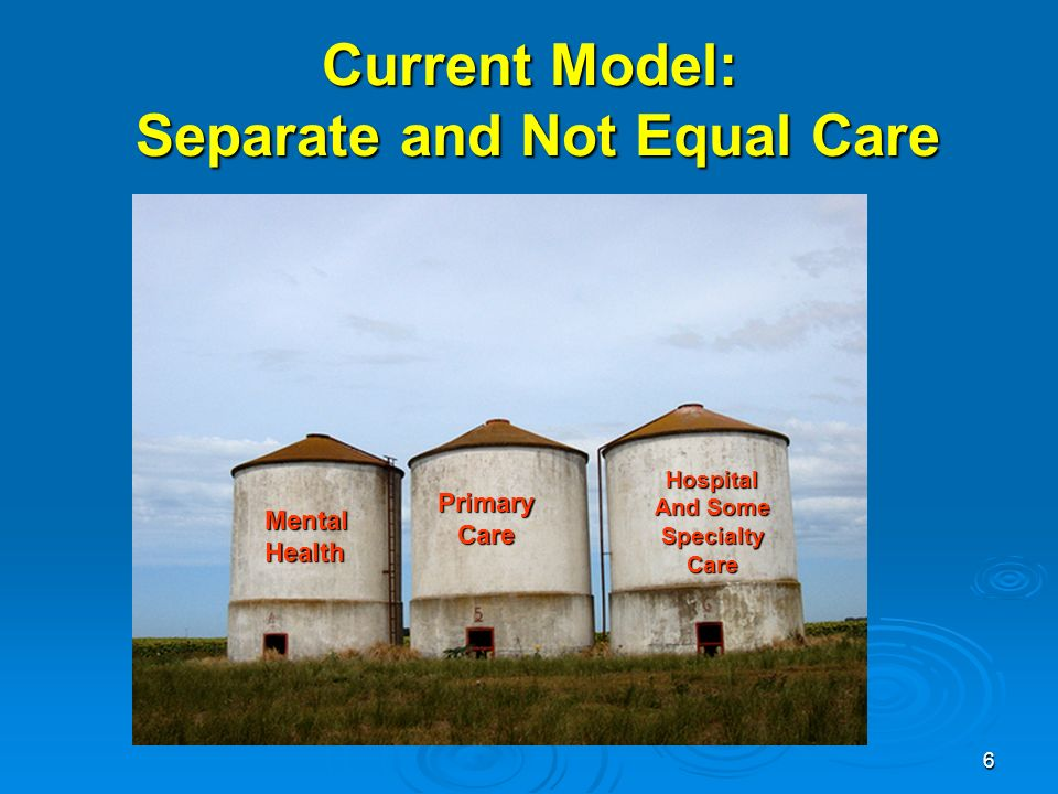 6 PrimaryCare MentalHealth Hospital And Some SpecialtyCare Current Model: Separate and Not Equal Care