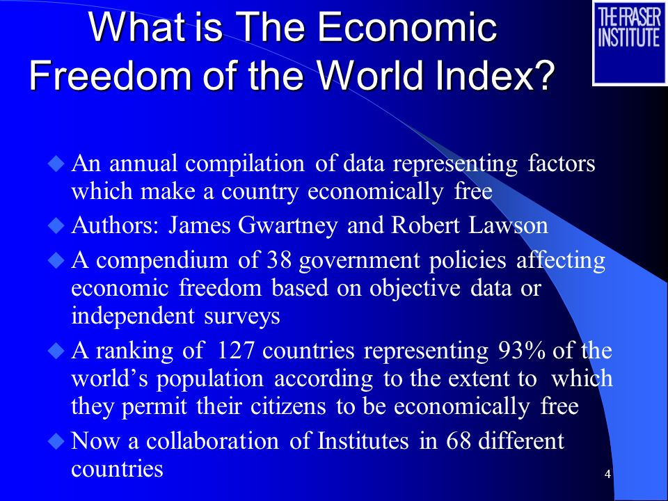 3 Economic Freedom of the World Project Objective: find a way to measure economic freedom and explore the connection between it and other variables 20