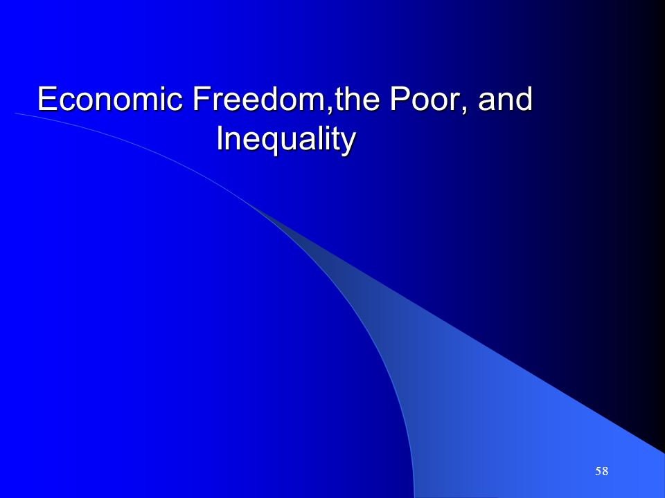 57 Policy Implications: Efforts to promote democracy may not produce peace dividend Policy should be to promote economic freedom Economic freedom has been shown to promote democracy over the long term (and many other good outcomes) Therefore, promoting economic freedom will both lead to less conflict and, in the long run, to democracy.