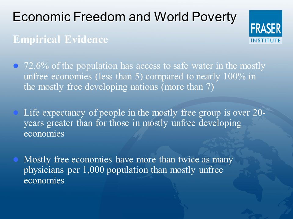 Economic Freedom and World Poverty Empirical Evidence 72.6% of the population has access to safe water in the mostly unfree economies (less than 5) compared to nearly 100% in the mostly free developing nations (more than 7) Life expectancy of people in the mostly free group is over 20- years greater than for those in mostly unfree developing economies Mostly free economies have more than twice as many physicians per 1,000 population than mostly unfree economies
