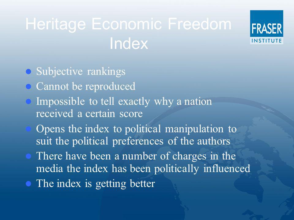 Heritage Economic Freedom Index Subjective rankings Cannot be reproduced Impossible to tell exactly why a nation received a certain score Opens the index to political manipulation to suit the political preferences of the authors There have been a number of charges in the media the index has been politically influenced The index is getting better