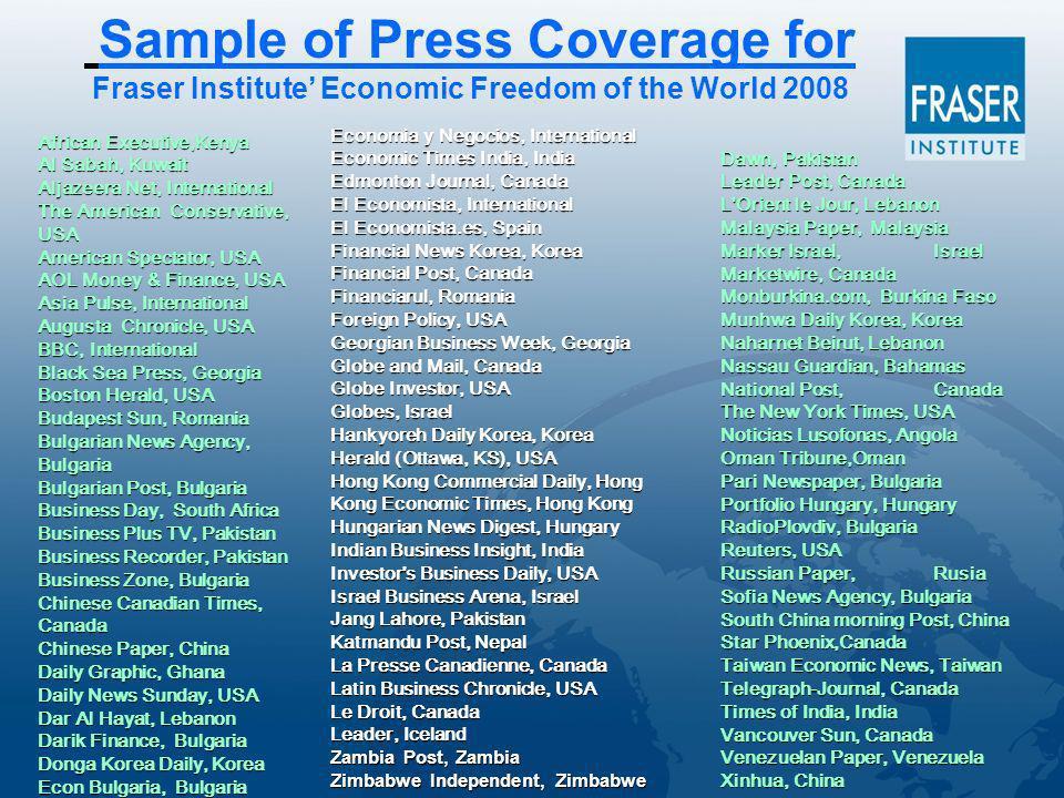 Sample of Press Coverage for Fraser Institute Economic Freedom of the World 2008 African Executive,Kenya Al Sabah, Kuwait Aljazeera Net, International