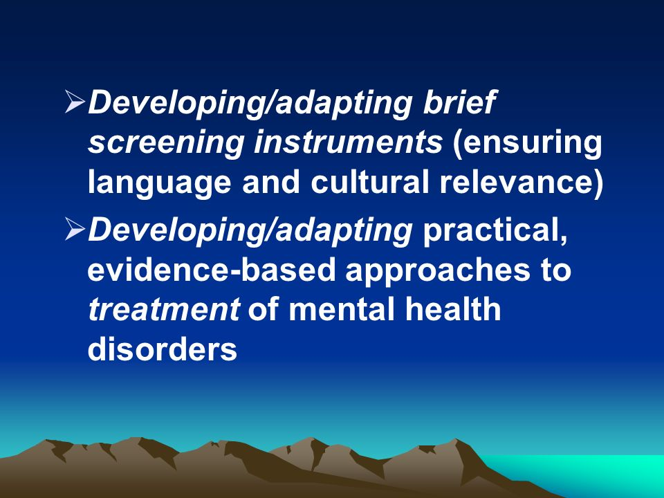 Developing/adapting brief screening instruments (ensuring language and cultural relevance) Developing/adapting practical, evidence-based approaches to treatment of mental health disorders