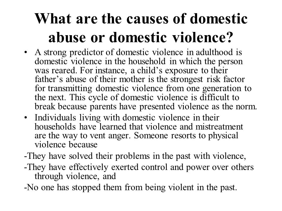 What are the causes of domestic abuse or domestic violence? A strong predictor of domestic violence in adulthood is domestic violence in the household