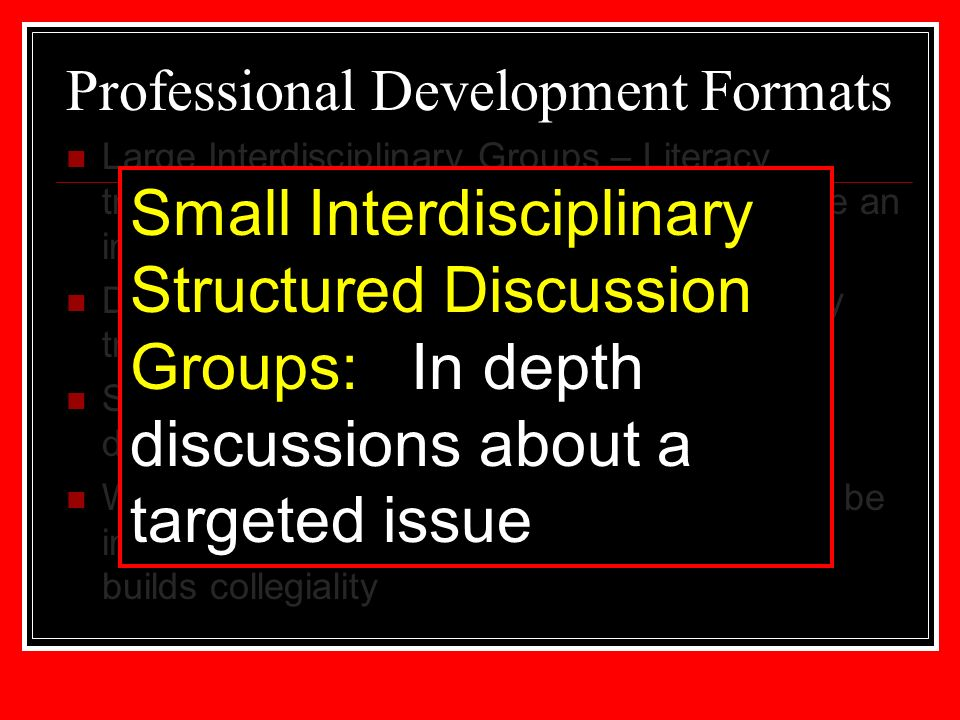 Professional Development Formats Large Interdisciplinary Groups – Literacy training that is often our first step to introduce an instructional method to all faculty Departmental Meetings – follow up to literacy training with a content specific focus Small Interdisciplinary Groups – In depth discussions about a targeted issue World Café – More informal, allows topics to be introduced without going into great detail – builds collegiality Small Interdisciplinary Structured Discussion Groups: In depth discussions about a targeted issue