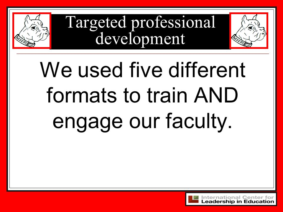 Targeted professional development We used five different formats to train AND engage our faculty.