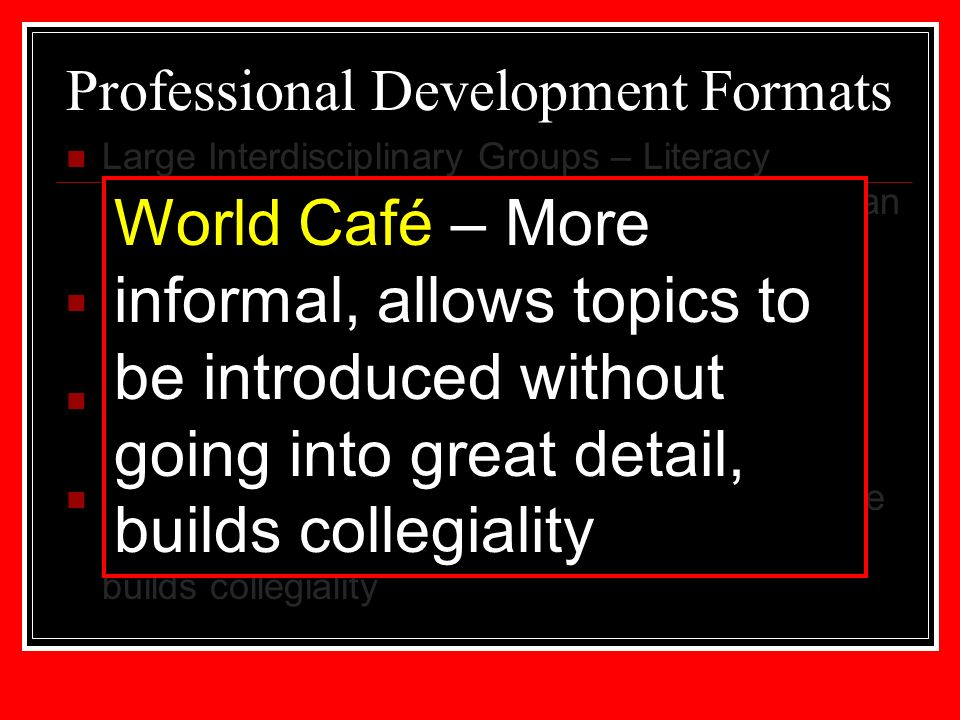 Professional Development Formats Large Interdisciplinary Groups – Literacy training that is often our first step to introduce an instructional method to all faculty Departmental Meetings – follow up to literacy training with a content specific focus Small Interdisciplinary Groups – In depth discussions about a targeted issue World Café – More informal, allows topics to be introduced without going into great detail – builds collegiality World Café – More informal, allows topics to be introduced without going into great detail, builds collegiality