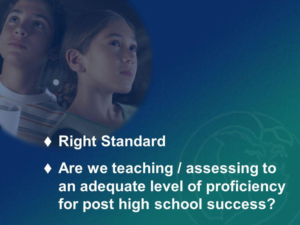 Right Standard Right level of proficiency Are we teaching / assessing students ability to apply the standard to post high school responsibilities?
