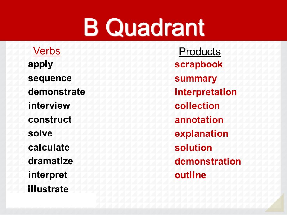 B Quadrant 1.apply 2.sequence 3.demonstrate 4.interview 5.construct 6.solve 7.calculate 8.dramatize 9.interpret illustrate scrapbook summary interpret