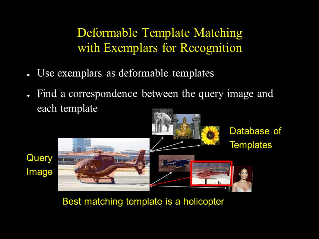 Deformable Template Matching with Exemplars for Recognition Use exemplars as deformable templates Find a correspondence between the query image and ea