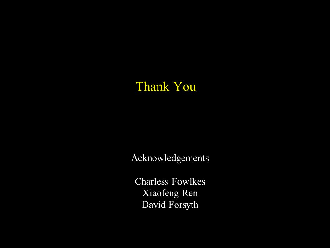 Thank You Acknowledgements Charless Fowlkes Xiaofeng Ren David Forsyth