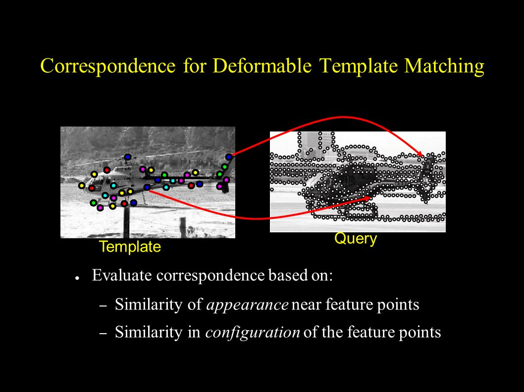 Correspondence for Deformable Template Matching Evaluate correspondence based on: – Similarity of appearance near feature points – Similarity in confi