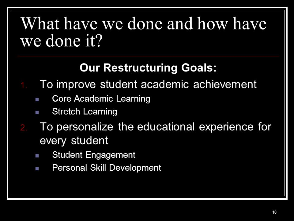 10 What have we done and how have we done it? Our Restructuring Goals: 1. To improve student academic achievement Core Academic Learning Stretch Learn