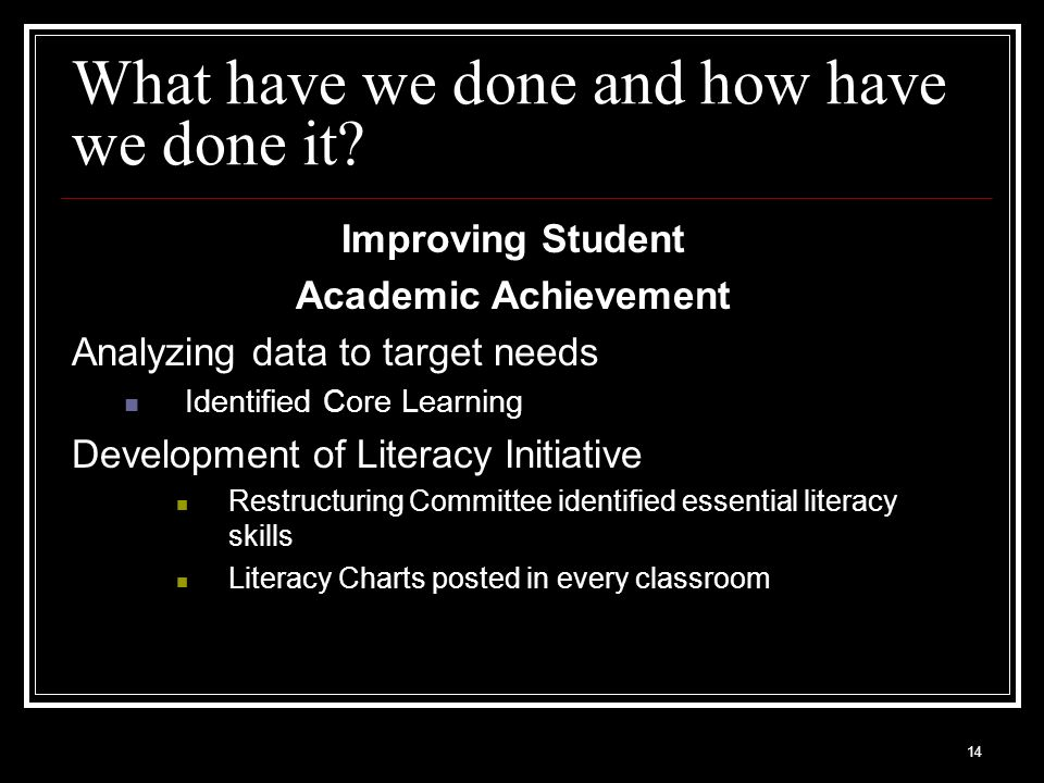14 What have we done and how have we done it? Improving Student Academic Achievement Analyzing data to target needs Identified Core Learning Developme