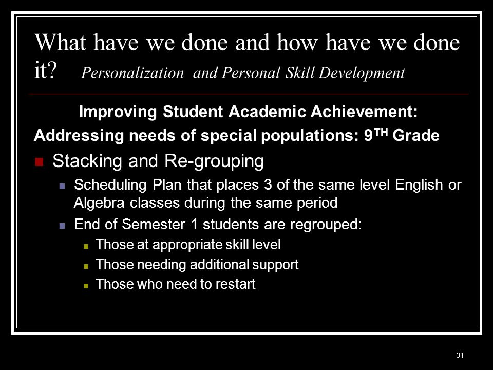 31 What have we done and how have we done it? Personalization and Personal Skill Development Improving Student Academic Achievement: Addressing needs