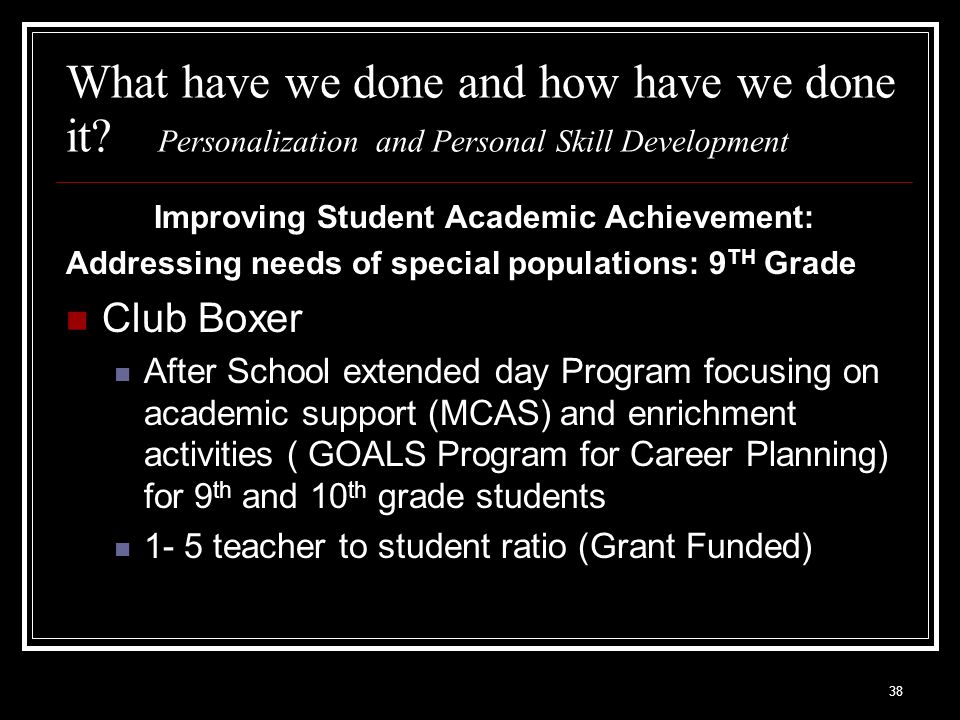 38 What have we done and how have we done it? Personalization and Personal Skill Development Improving Student Academic Achievement: Addressing needs