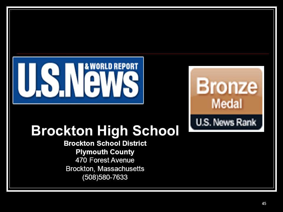 45 Brockton High School Brockton School District Plymouth County 470 Forest Avenue Brockton, Massachusetts (508)580-7633