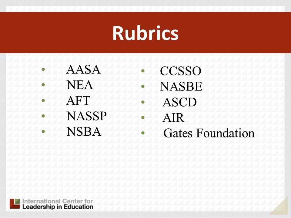 Rubrics AASA NEA AFT NASSP NSBA CCSSO NASBE ASCD AIR Gates Foundation