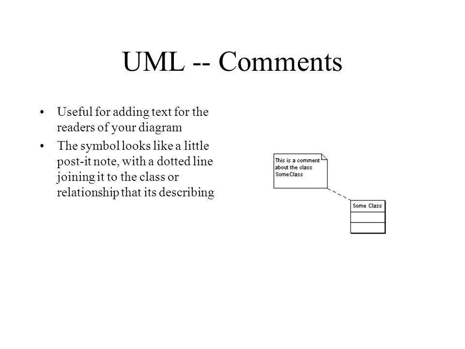 UML -- Comments Useful for adding text for the readers of your diagram The symbol looks like a little post-it note, with a dotted line joining it to the class or relationship that its describing