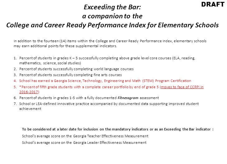 Exceeding the Bar: a companion to the College and Career Ready Performance Index for Elementary Schools In addition to the fourteen (14) items within