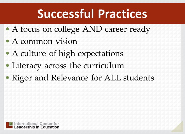 A focus on college AND career ready A common vision A culture of high expectations Literacy across the curriculum Rigor and Relevance for ALL students Successful Practices