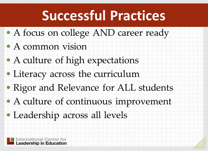 A focus on college AND career ready A common vision A culture of high expectations Literacy across the curriculum Rigor and Relevance for ALL students A culture of continuous improvement Leadership across all levels Successful Practices
