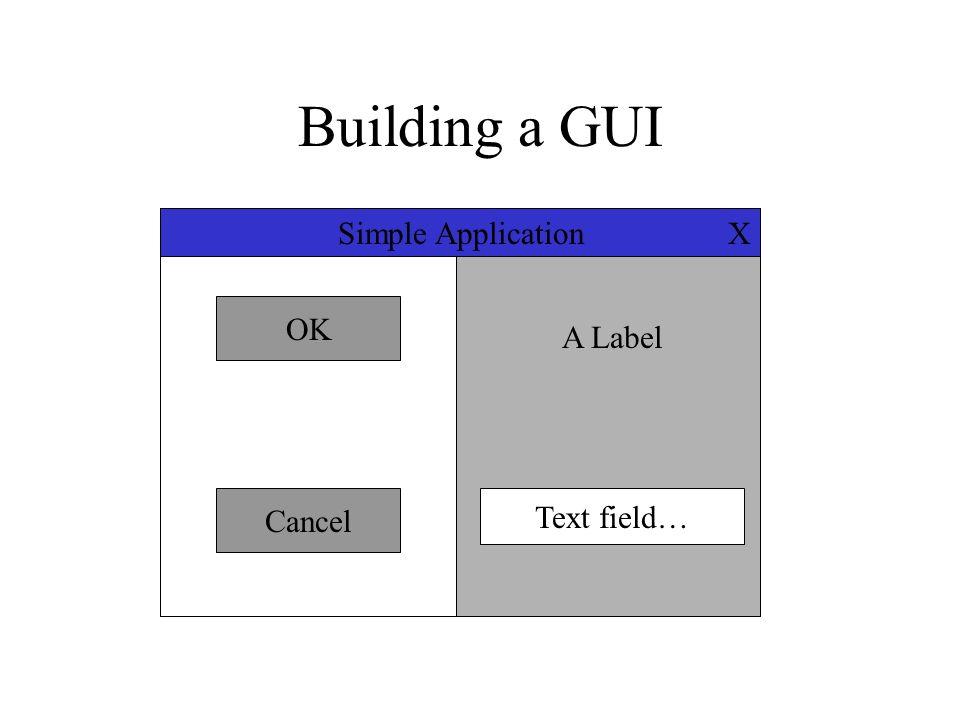 Building a GUI X OK Cancel A Label Text field… Simple Application