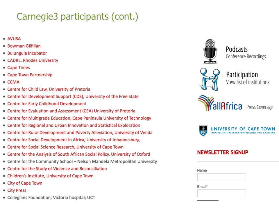 Carnegie3 participants (cont.)