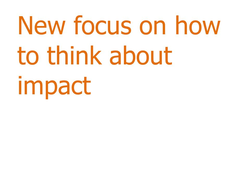 New focus on how to think about impact