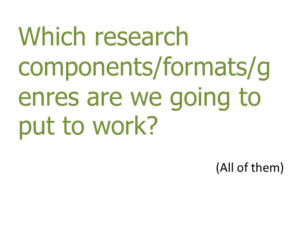 Which research components/formats/g enres are we going to put to work? (All of them)