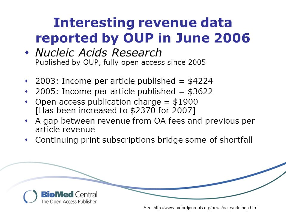 Interesting revenue data reported by OUP in June 2006 Nucleic Acids Research Published by OUP, fully open access since 2005 2003: Income per article p