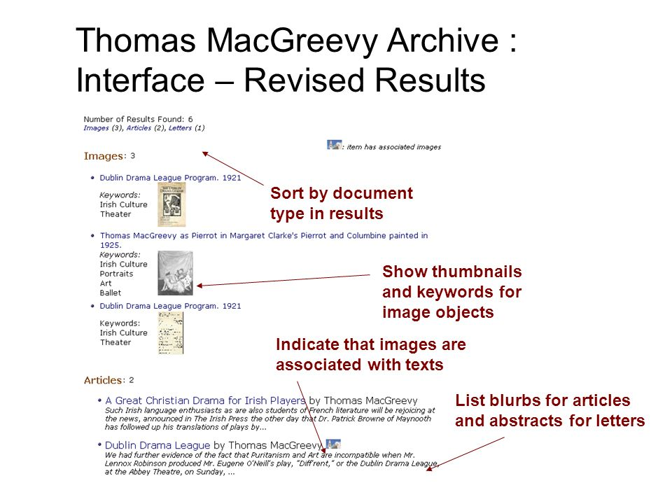 Sort by document type in results Show thumbnails and keywords for image objects Indicate that images are associated with texts List blurbs for article
