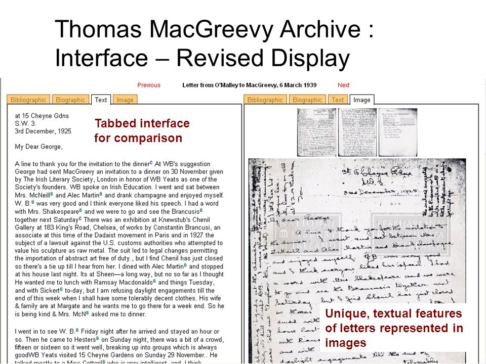 Tabbed interface for comparison Unique, textual features of letters represented in images Thomas MacGreevy Archive : Interface – Revised Display