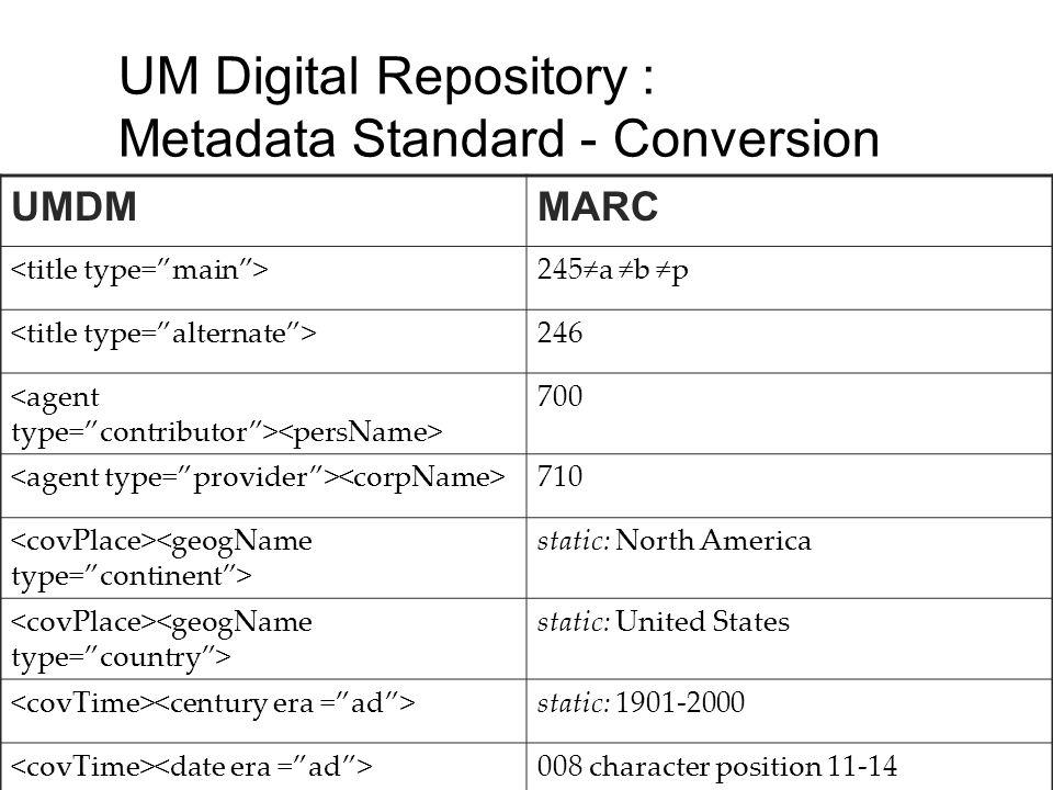 UM Digital Repository : Metadata Standard - Conversion UMDMMARC 245a b p 246 700 710 static: North America static: United States static: 1901-2000 008