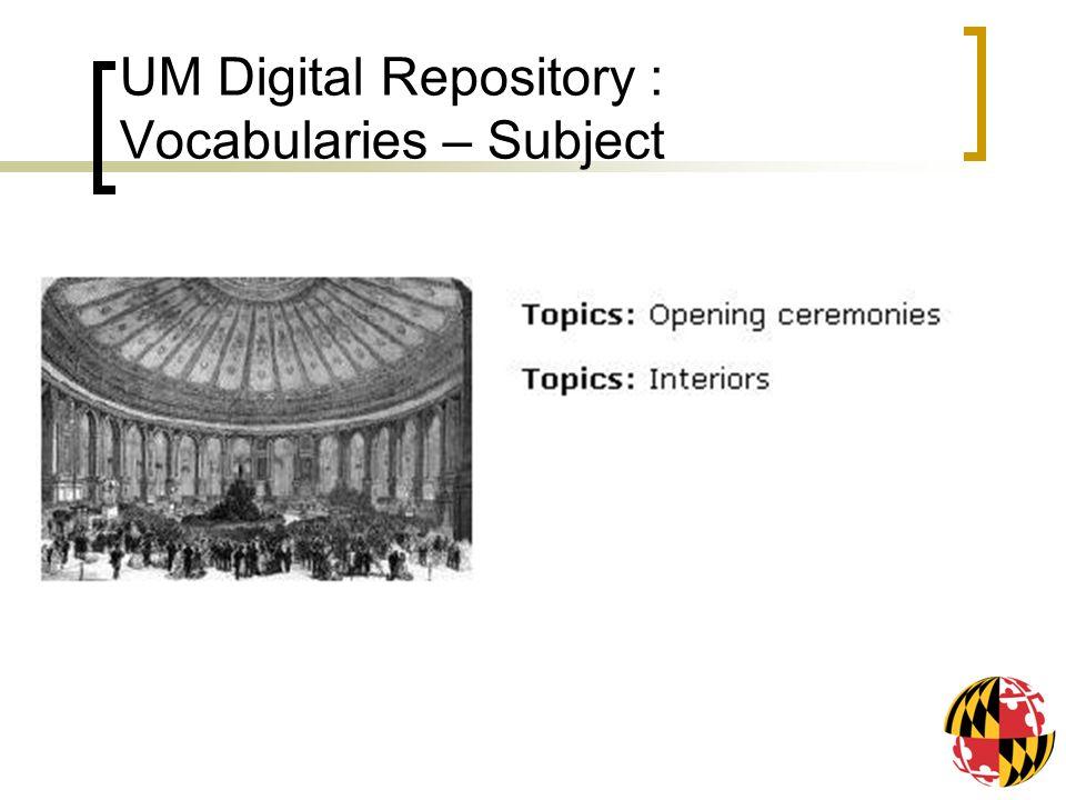 UM Digital Repository : Vocabularies – Subject